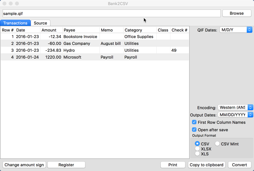 Screenshot of Bank2CSV for Mac 3.2.5