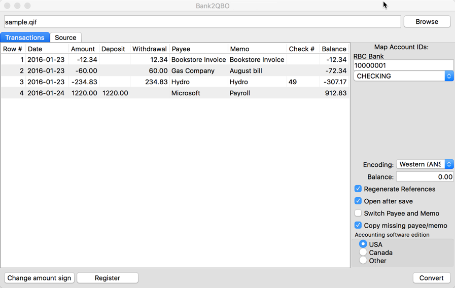 Bank2QBO for Mac Screenshot