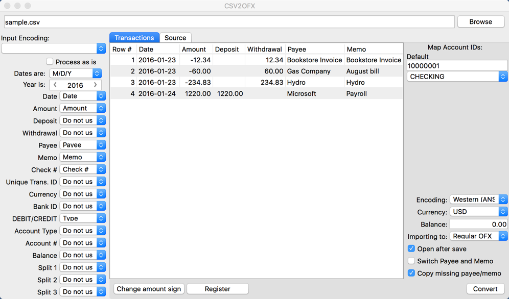 Screenshot of CSV2OFX for Mac 3.2.5