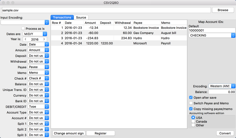 CSV2QBO for Mac