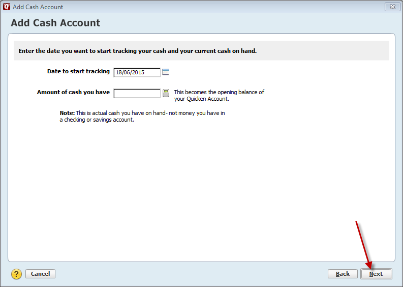 In Quicken 2015 add account next step click next