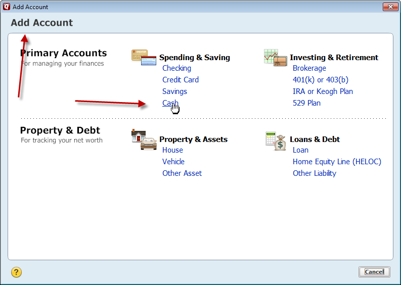in Quicken 2015 add cash account