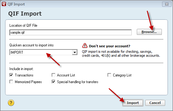 select IMPORT account