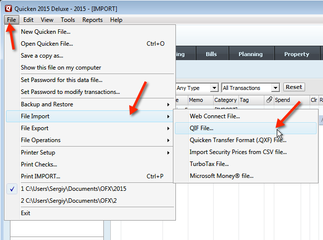 In Quicken 2015 select File, Import, QIF file