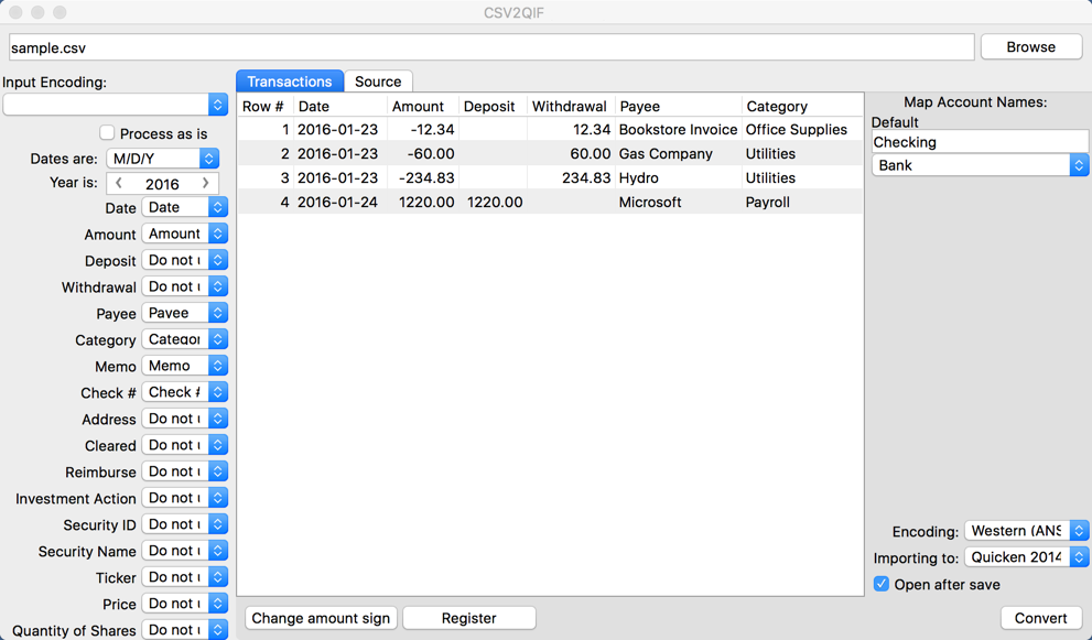 CSV2QIF for Mac