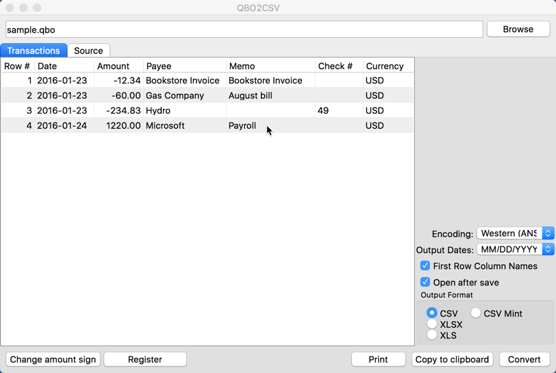 QBO2CSV for Mac 3.0.0.2 Screen shot