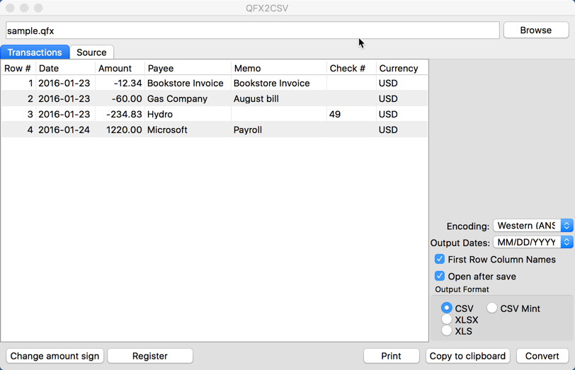 QFX2CSV for Mac 3.0.0.2 Screen shot