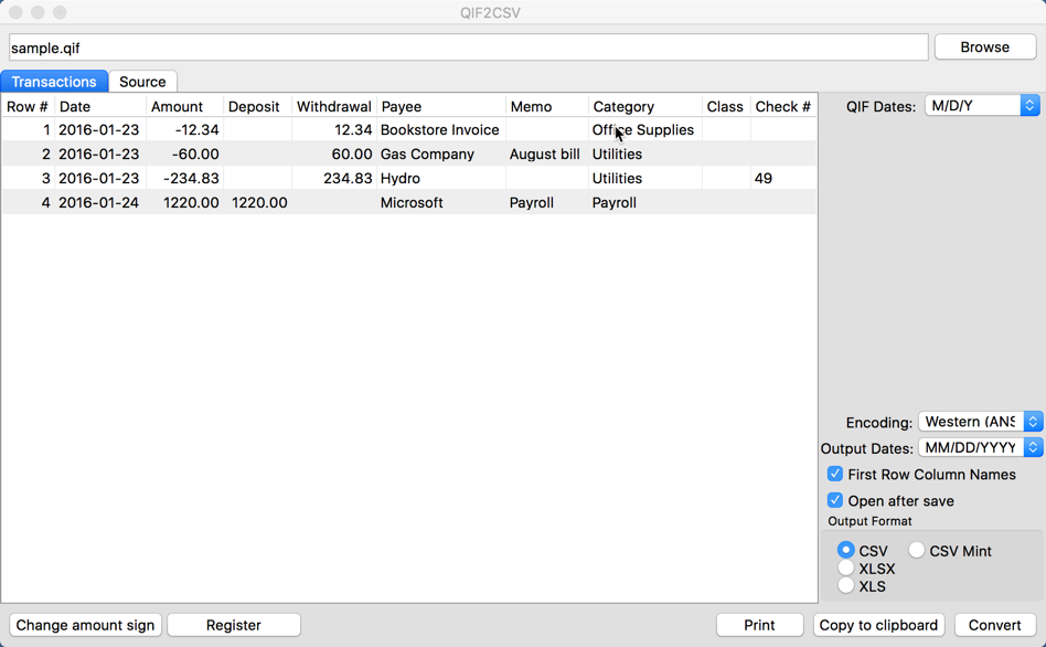QIF2CSV for Mac